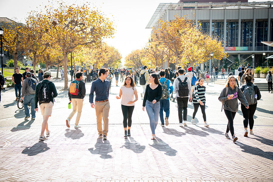 Students walking in Sproul Plaza